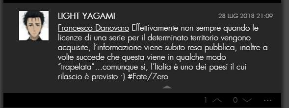 Leak del dub di Fate/Zero su VVVVID.it, 28 luglio 2018